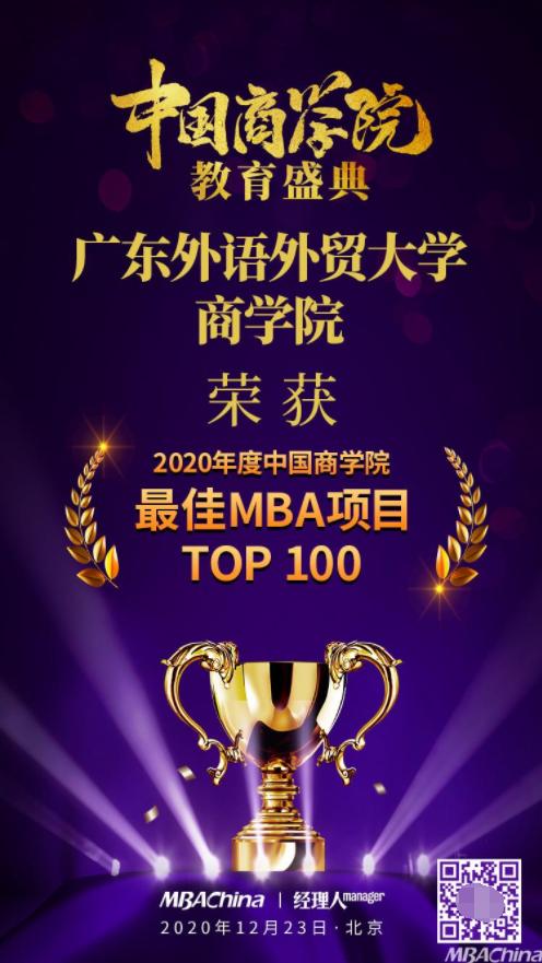 """广东外语外贸大学商学院荣获""""2020年度中国商学院最佳MBA项目TOP100"""" 第56名"""